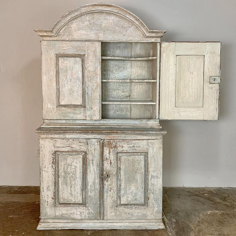 Gustavian 18th Century Swedish Painted Buffet a Deux Corps For Sale