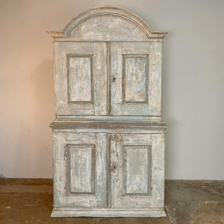 Hand-Crafted 18th Century Swedish Painted Buffet a Deux Corps For Sale
