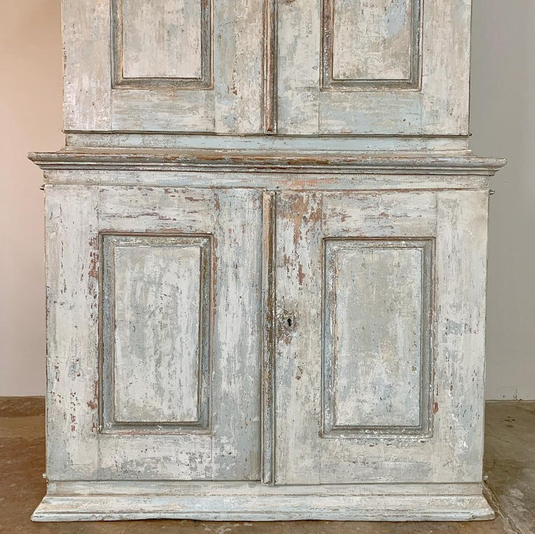 18th Century Swedish Painted Buffet a Deux Corps For Sale 3