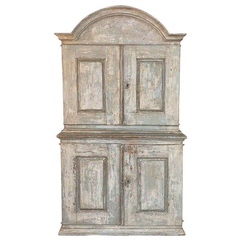 18th Century Swedish Painted Buffet a Deux Corps For Sale