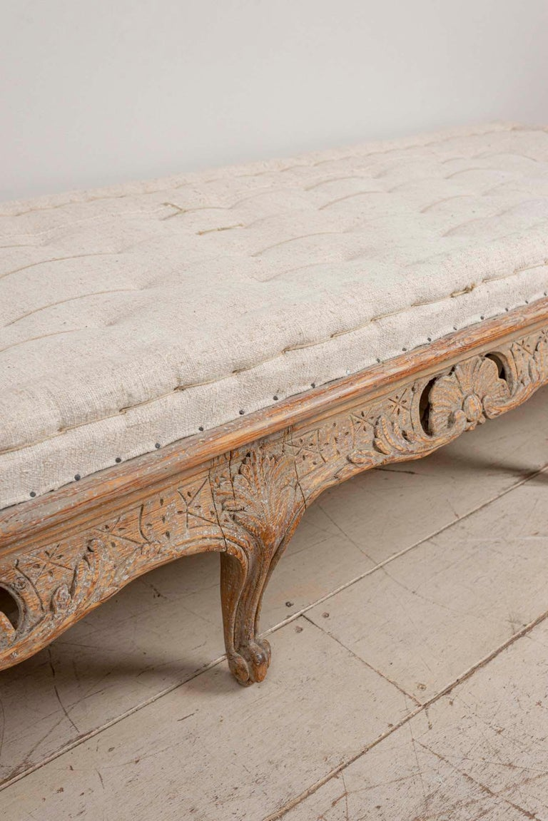 Wood 18th Century Swedish Painted Rococo Carved Decorative Scrolled Stool or Bench For Sale