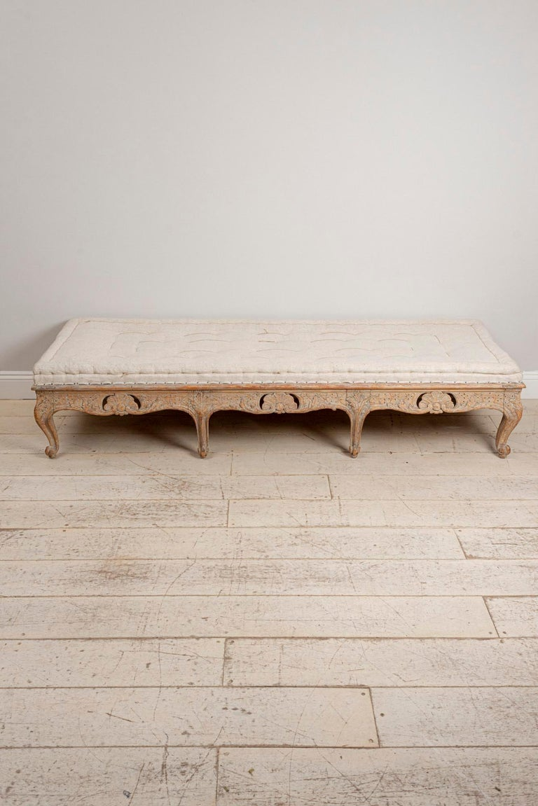 18th Century Swedish Painted Rococo Carved Decorative Scrolled Stool or Bench For Sale 1