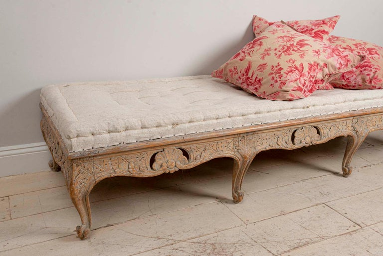 18th Century Swedish Painted Rococo Carved Decorative Scrolled Stool or Bench For Sale 3