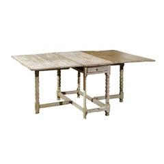 18th Century Swedish Painted Wood Gateleg Drop-Leaf Table with Bobbin Legs
