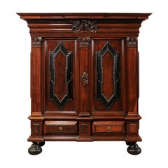 An Early 18th Century Swedish Period Baroque Kas Cabinet with Ebonized Accents