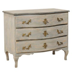 An 18th Century Swedish Period Rococo Chest of Drawers with Serpentine Body