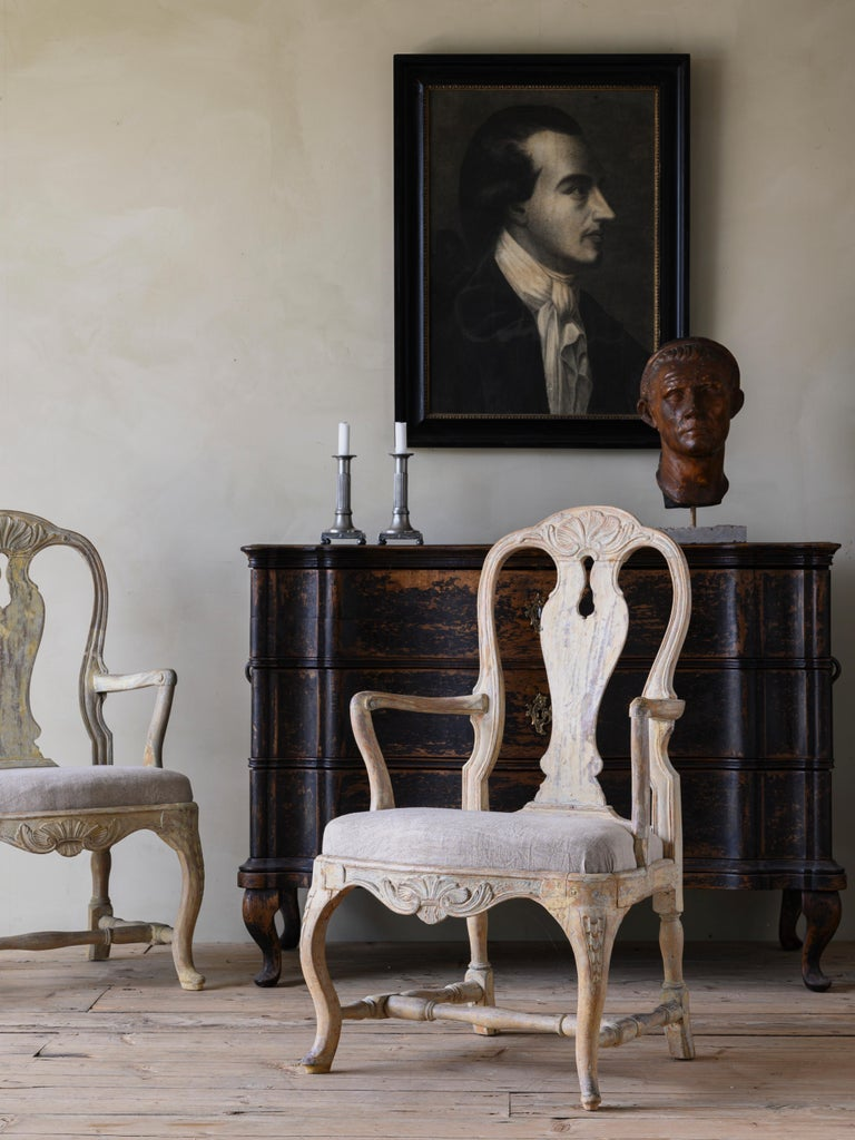 Hand-Crafted 18th Century Swedish Rococo Armchairs For Sale