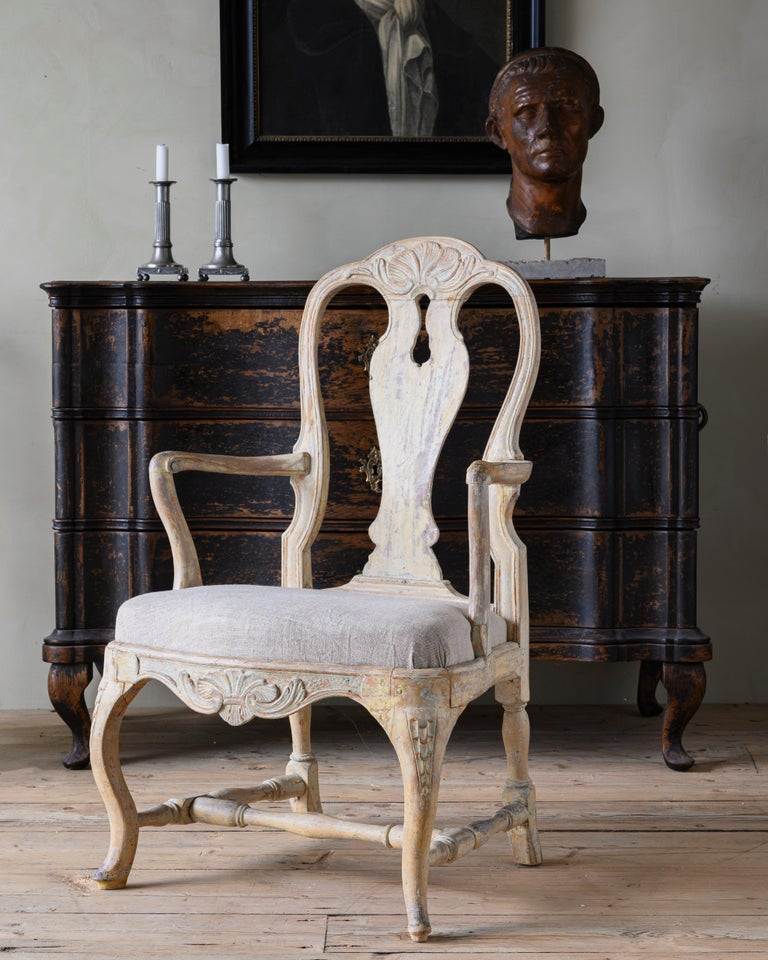 18th Century Swedish Rococo Armchairs In Good Condition For Sale In Helsingborg, SE