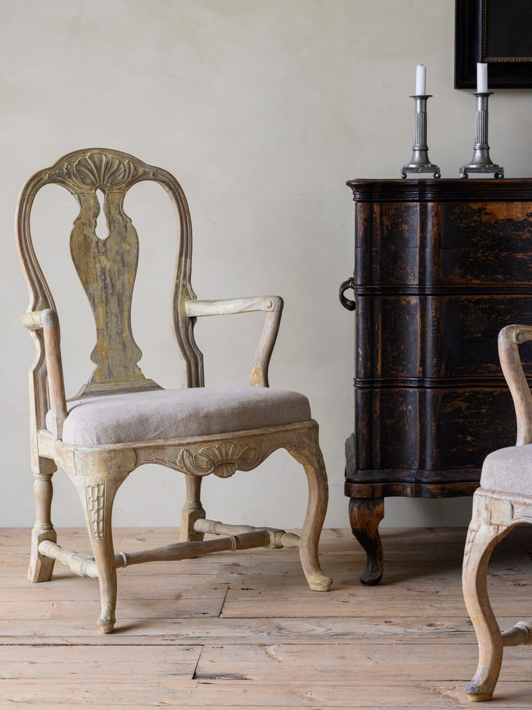 18th Century and Earlier 18th Century Swedish Rococo Armchairs For Sale