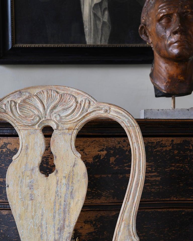 Wood 18th Century Swedish Rococo Armchairs For Sale