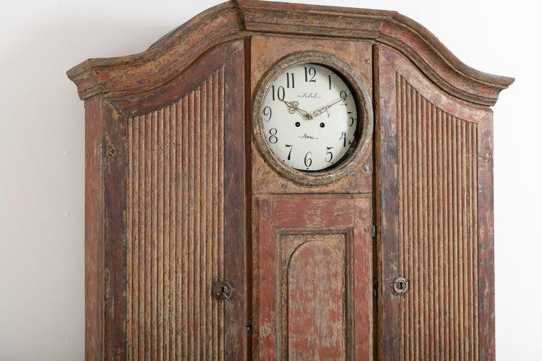 18th Century Swedish Rococo Clock Secretary For Sale 7