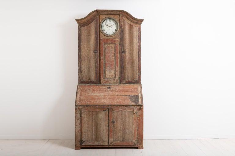 Hand-Crafted 18th Century Swedish Rococo Clock Secretary For Sale