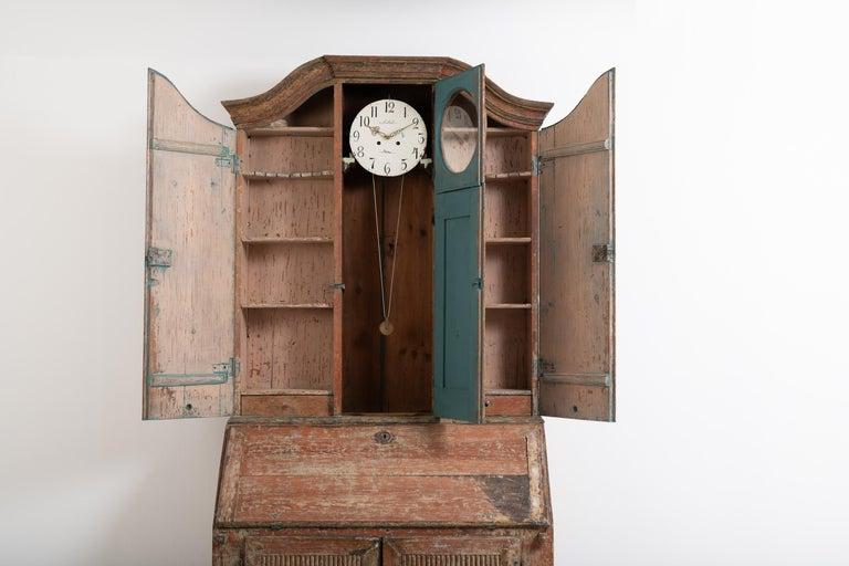 18th Century Swedish Rococo Clock Secretary For Sale 1