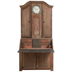 18th Century Swedish Rococo Clock Secretary