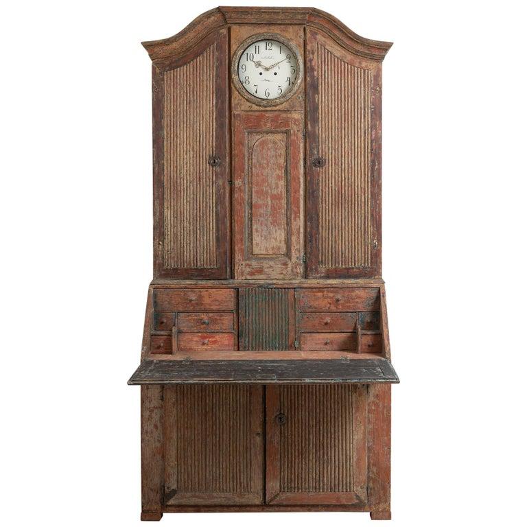 18th Century Swedish Rococo Clock Secretary For Sale