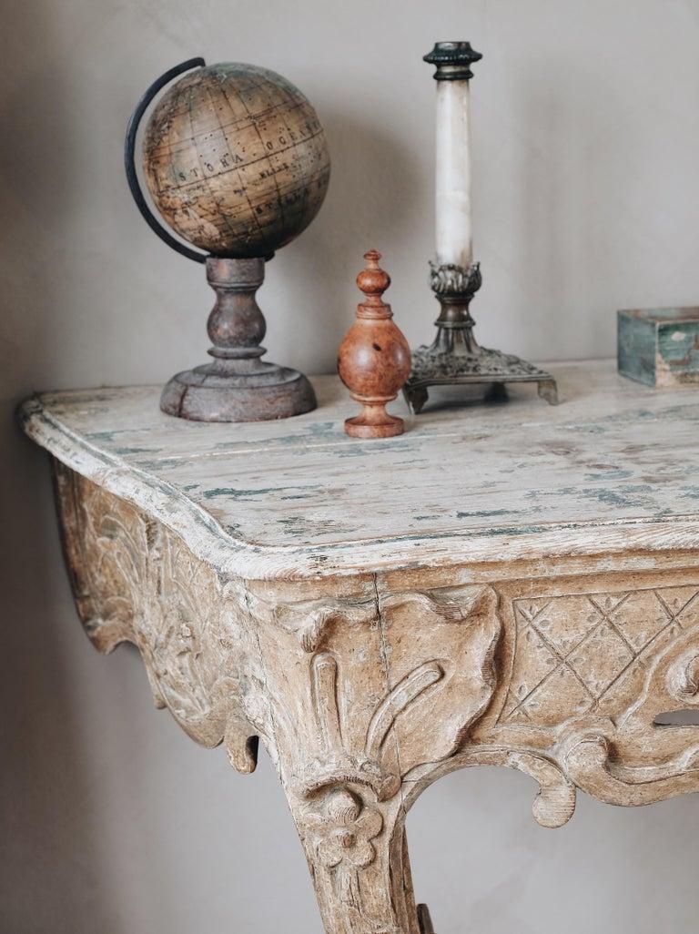 18th Century Swedish Rococo Console Table In Good Condition For Sale In Helsingborg, SE
