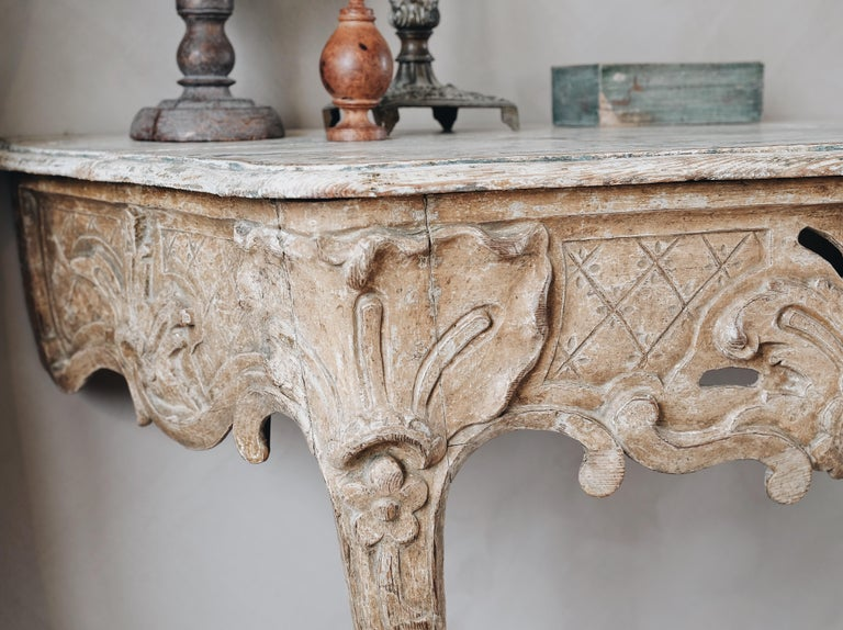 Wood 18th Century Swedish Rococo Console Table For Sale
