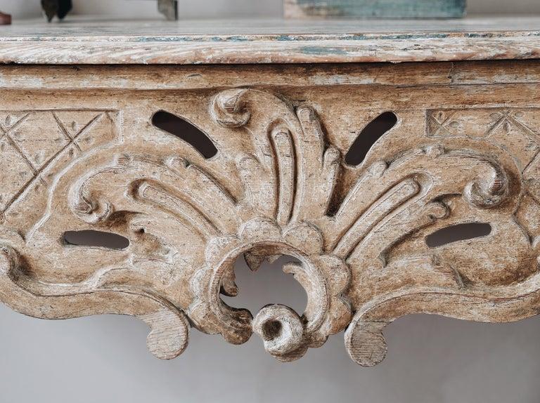 18th Century Swedish Rococo Console Table For Sale 1