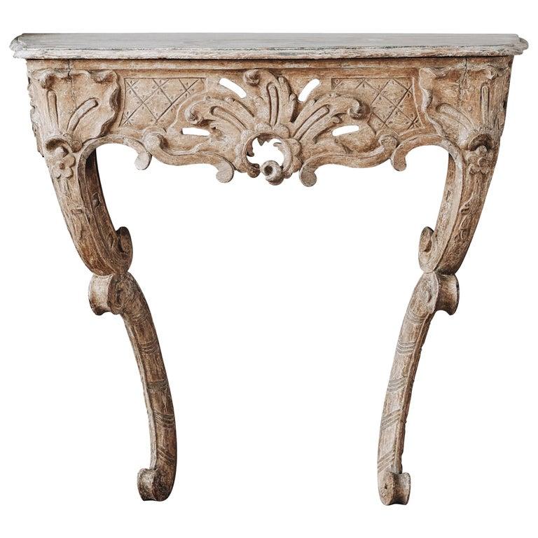 18th Century Swedish Rococo Console Table For Sale