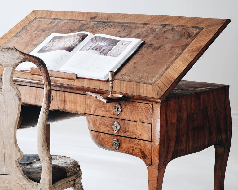 18th Century Swedish Rococo Draughtsman's Table For Sale 5