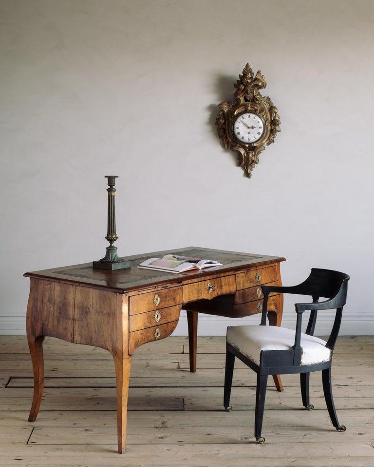 Veneer 18th Century Swedish Rococo Draughtsman's Table For Sale