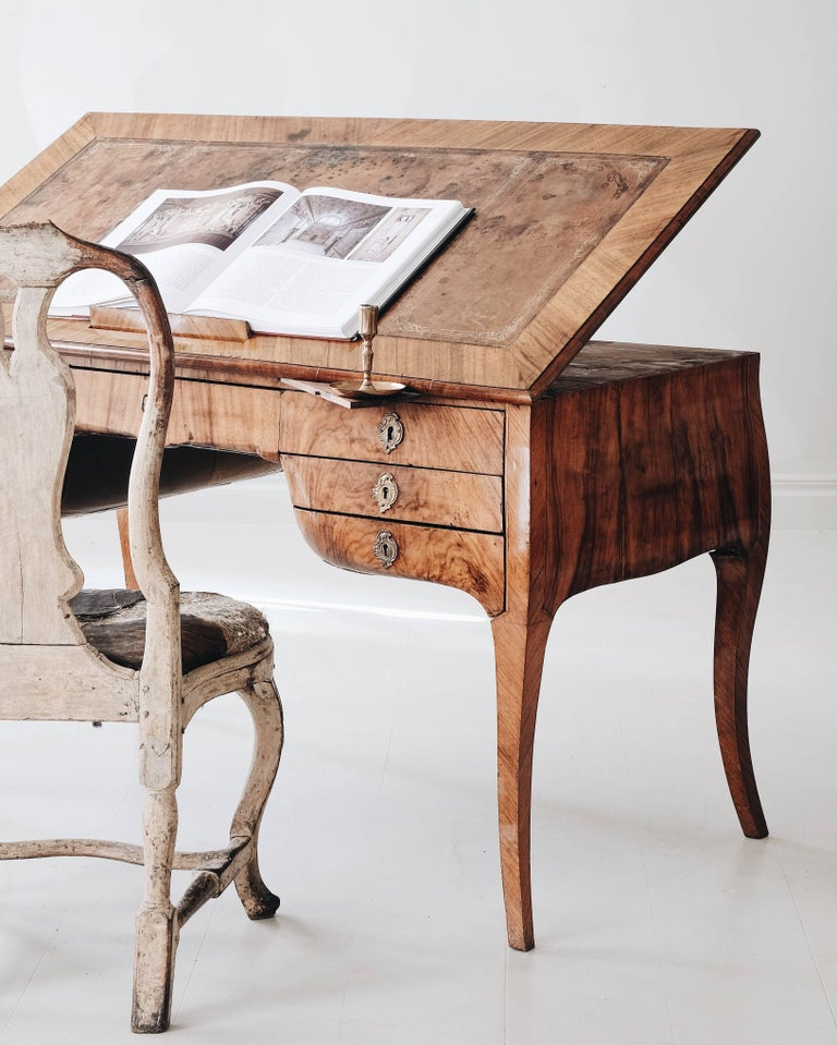 18th Century Swedish Rococo Draughtsman's Table In Good Condition For Sale In Helsingborg, SE