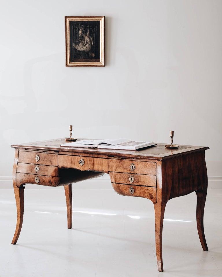 Walnut 18th Century Swedish Rococo Draughtsman's Table For Sale