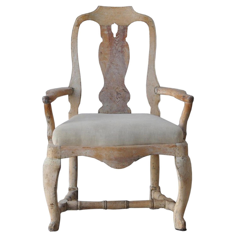 18th Century Swedish Rococo Original Paint Chair
