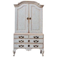 18th Century Swedish Rococo Period Linen Press Cabinet