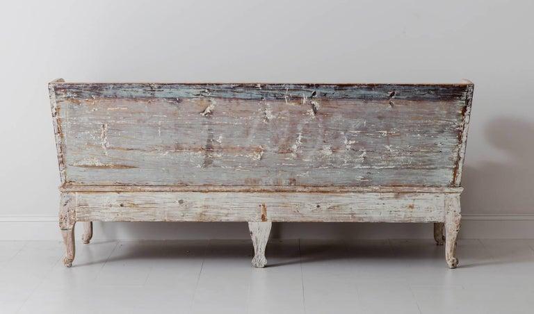18th Century Swedish Rococo Period Trag Sofa Bench in Original Paint For Sale 4