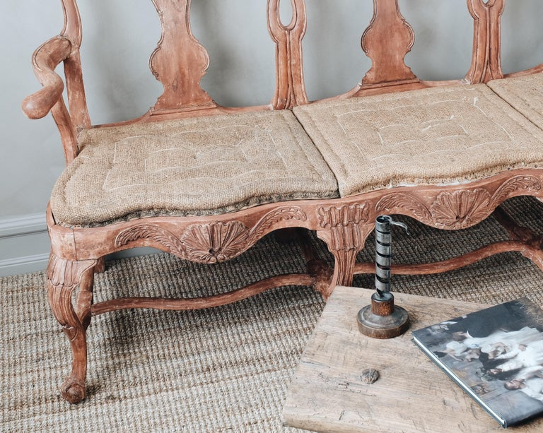 Wood 18th Century Swedish Rococo Sofa For Sale