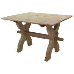 18th Century Swedish X-Frame Bock Board Trestle Table