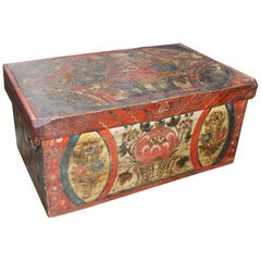18th Century Swiss Hand Painted Wooden Box with Vegetable Motifs