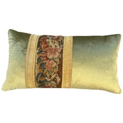 Maison Maison 18th Century Tapestry and Celadon Silk Velvet Pillow