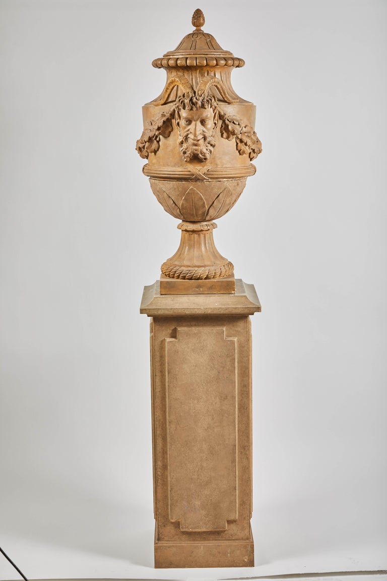 18th Century Terracotta Urns on Pedestals from the Collection of Karl Lagerfeld For Sale 6