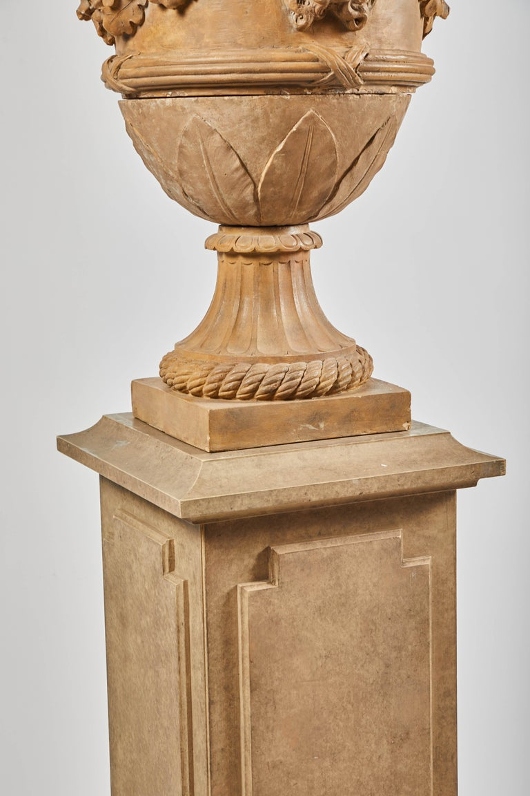 18th Century Terracotta Urns on Pedestals from the Collection of Karl Lagerfeld For Sale 7