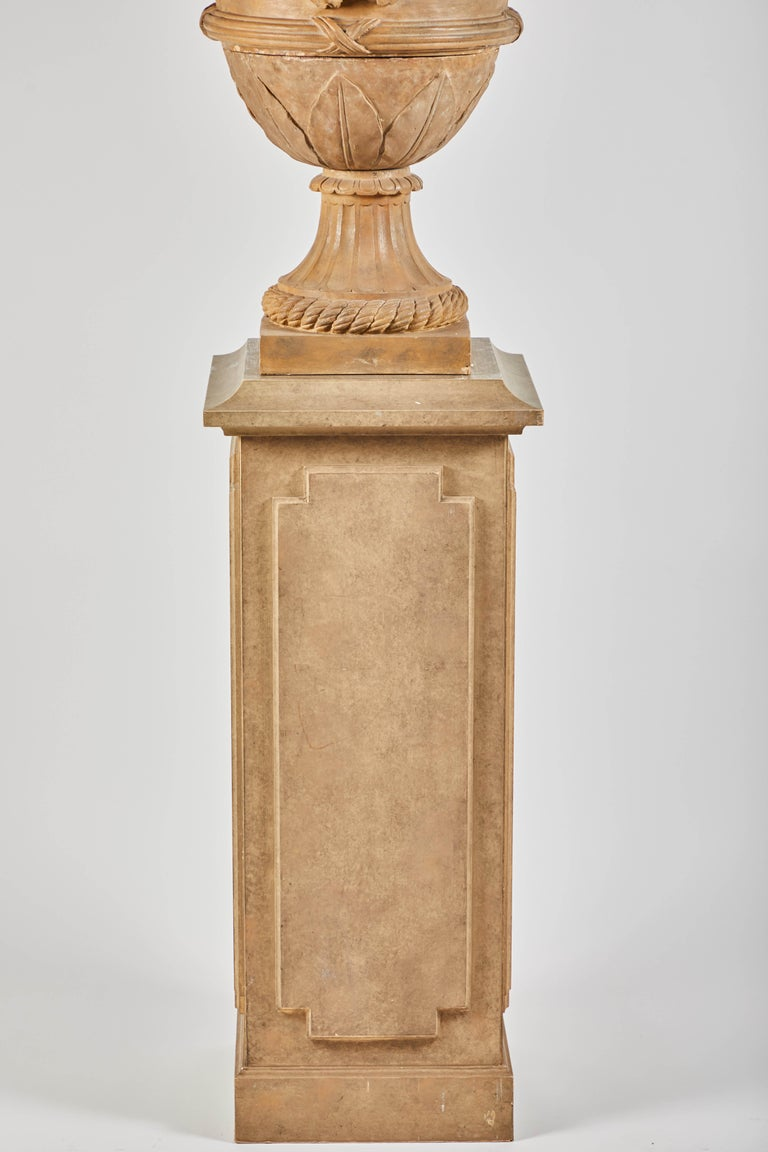 Italian 18th Century Terracotta Urns on Pedestals from the Collection of Karl Lagerfeld For Sale
