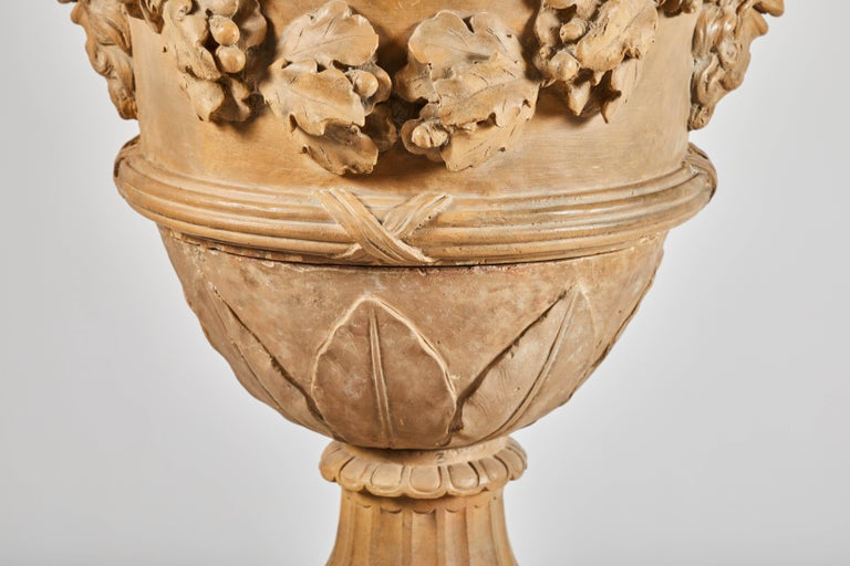 18th Century Terracotta Urns on Pedestals from the Collection of Karl Lagerfeld For Sale 2