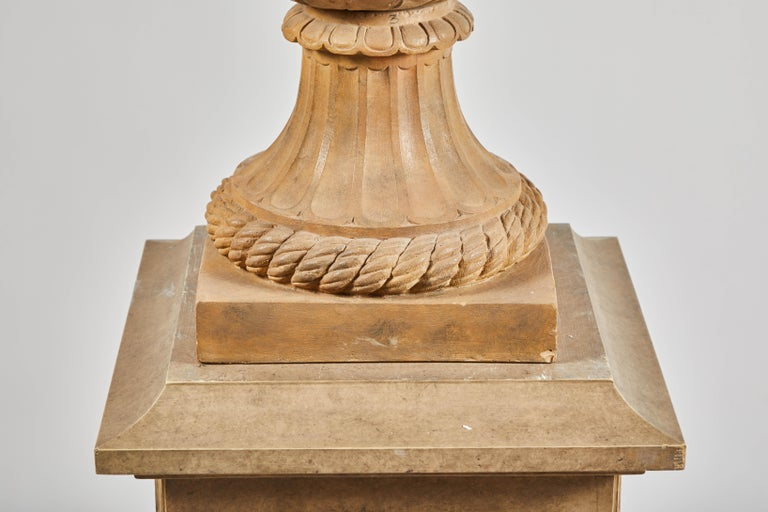 18th Century Terracotta Urns on Pedestals from the Collection of Karl Lagerfeld For Sale 3