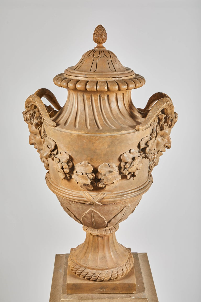 18th Century Terracotta Urns on Pedestals from the Collection of Karl Lagerfeld For Sale 4