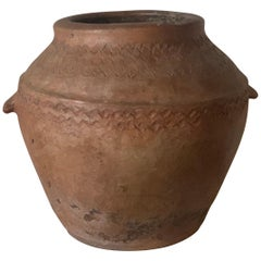 18th Century Terracotta Vessel, Vase, Planter with Two Handles