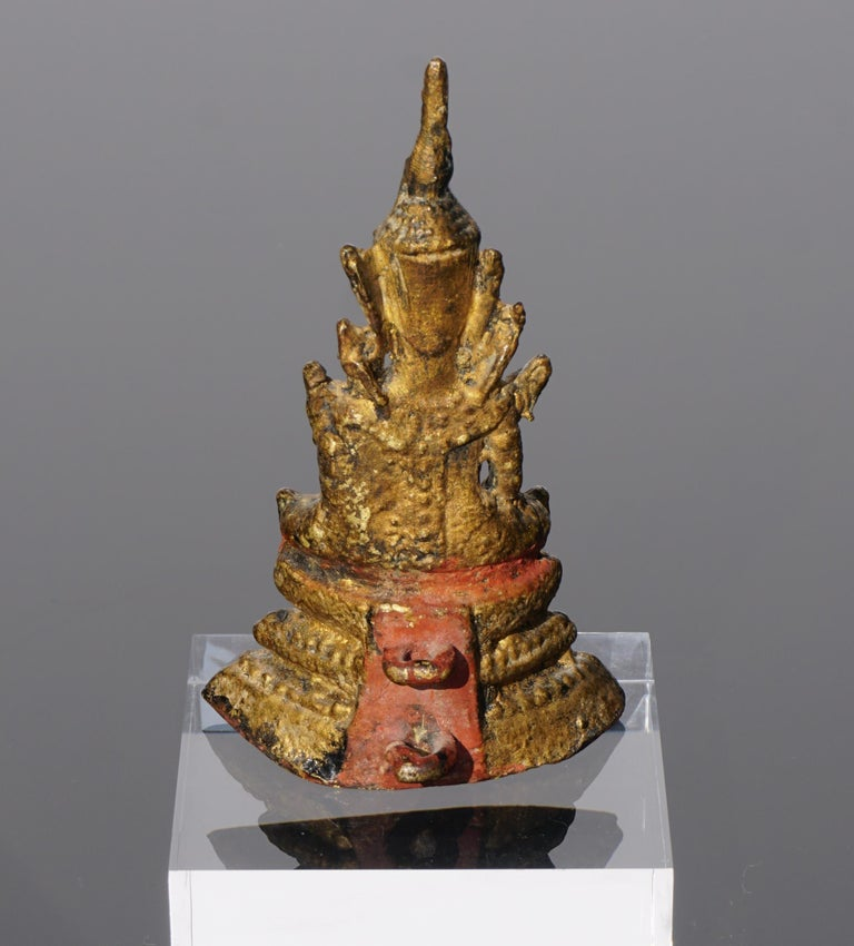 18th Century and Earlier 18th Century Thai Gilt Bronze Buddha Statue For Sale