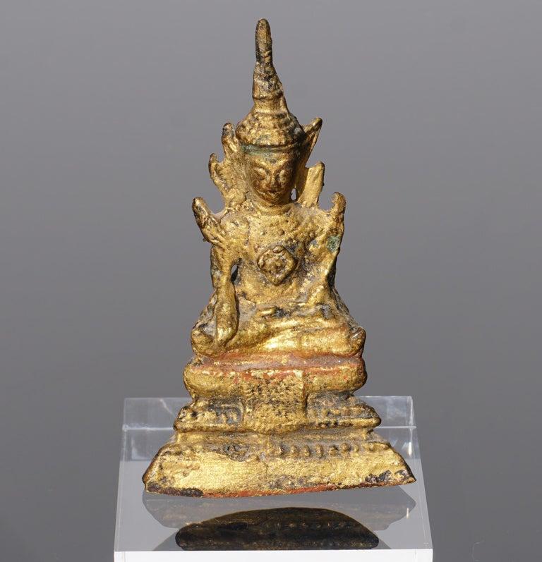 18th Century Thai Gilt Bronze Buddha Statue For Sale 1