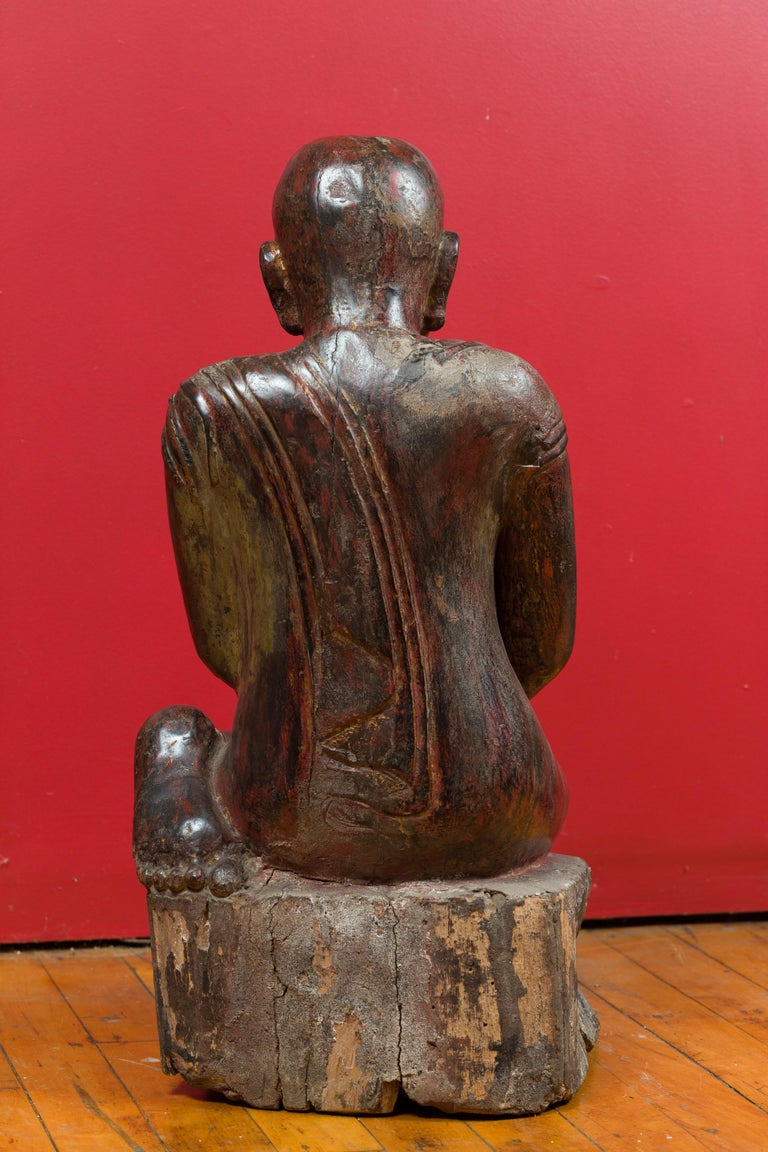 18th Century Thai Hand Carved Lacquered Wood Sculpture of a Seated Monk For Sale 6