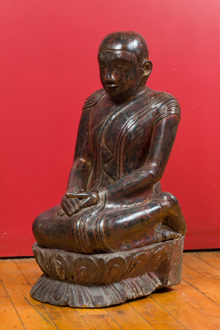 18th Century Thai Hand Carved Lacquered Wood Sculpture of a Seated Monk For Sale 8