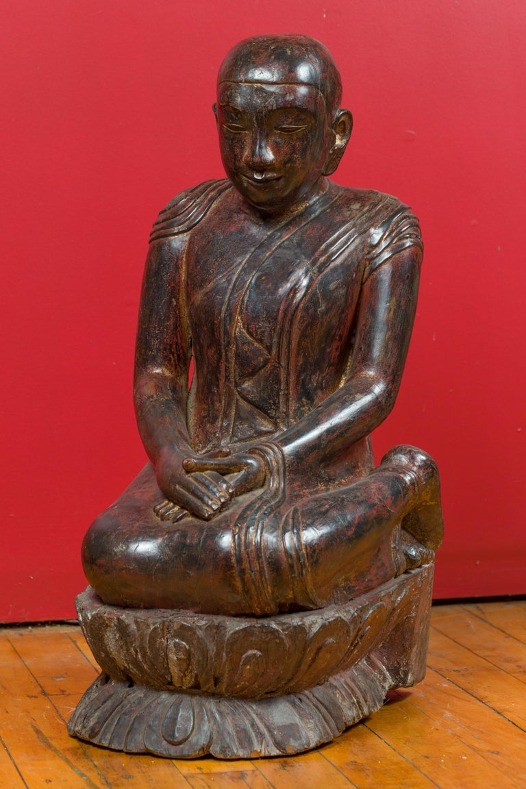 18th Century Thai Hand Carved Lacquered Wood Sculpture of a Seated Monk For Sale 9