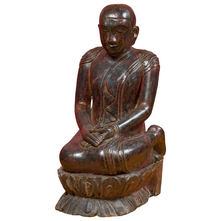 18th Century Thai Hand Carved Lacquered Wood Sculpture of a Seated Monk For Sale