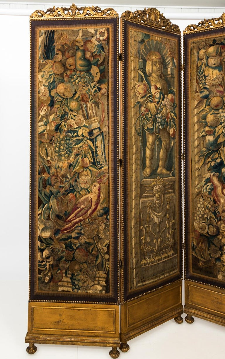 18th Century Three Panel Flemish Tapestry Screen For Sale 4