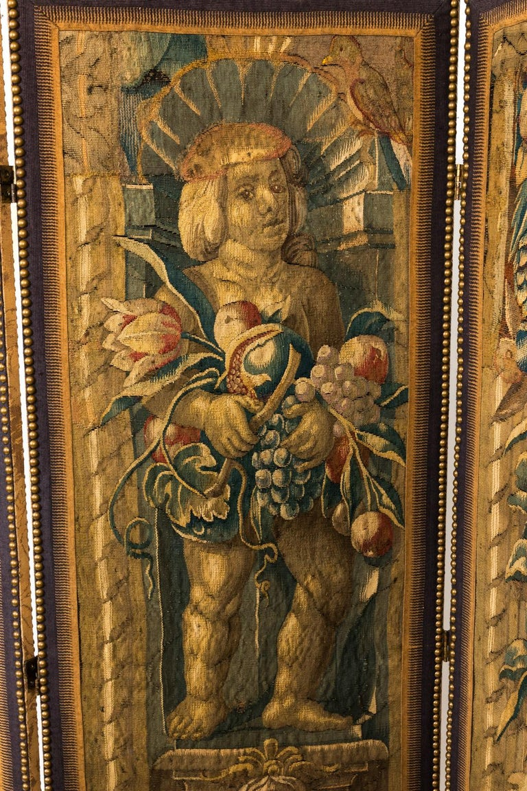 18th Century Three Panel Flemish Tapestry Screen For Sale 7