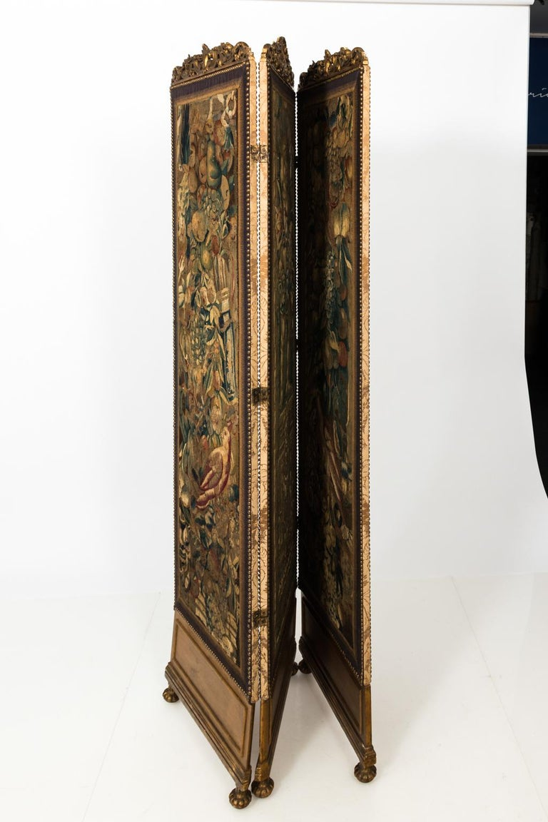 Baroque 18th Century Three Panel Flemish Tapestry Screen For Sale
